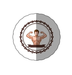 Sticker colorful border with half body muscle man vector
