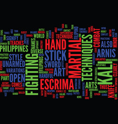 The martialarm intro to arnis text background vector