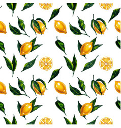 Watercolor seamless pattern with lemon and leaves vector