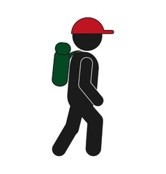 Tourist backpacker icon vector