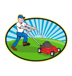 Lawn mower man gardener cartoon vector