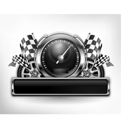 emblem speedometer races checkered flag vector image