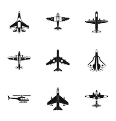 Military air transport icons set simple style vector