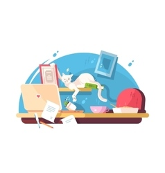 Cute cat and mess in workplace vector