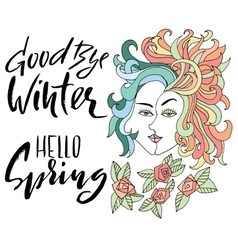 Girl with two faces and flowers Winter and spring vector image