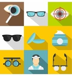 Eye exam icons set flat style vector
