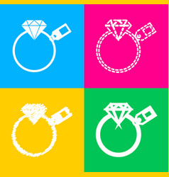 Diamond sign with tag four styles of icon on four vector