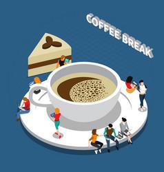 coffee break isometric composition vector image