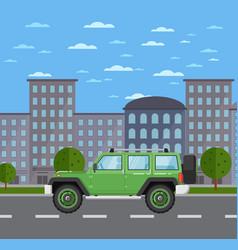 Modern off road car in urban landscape vector