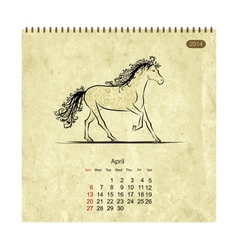 Calendar 2014 april art horses for your design vector