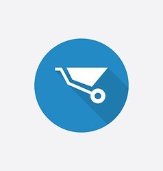 Construction wheelbarrow flat blue simple icon vector
