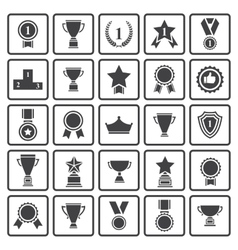 Black avards icons set vector