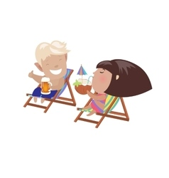 Couple drinking beverages sitting in the deck vector
