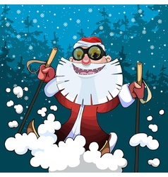 Cartoon cheerful santa claus on skis in the woods vector