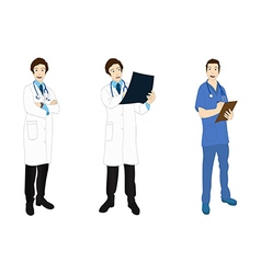 Medical staff man full body asian color vector