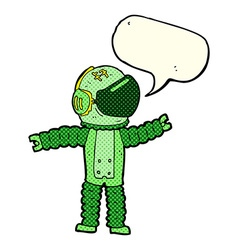 Cartoon astronaut reaching with speech bubble vector