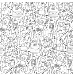Seamless pattern woth Man Objects vector image