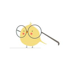 Animated cartoon geeky and funny bird logo icon - vector