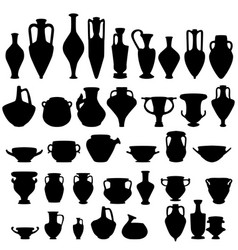 Antique ceramics silhouettes vector