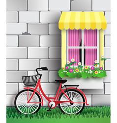 Bicycle in the garden vector