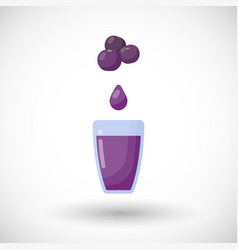 blueberry juice flat icon vector image vector image