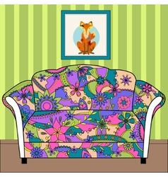 Cartoon interior with couch painted colorful vector image