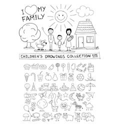 Child hand drawing of happy family vector image vector image