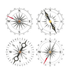 compass set different navigation sign vector image vector image