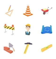 Construction icons set cartoon style vector image vector image