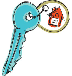 Drawn colored house key vector
