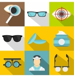 Eye exam icons set flat style vector