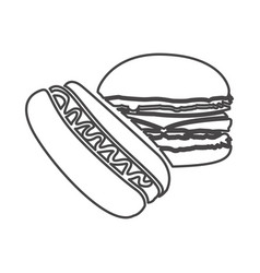 figure hot dog and hamburger icon vector image vector image