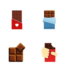 Flat icon sweet set of chocolate shaped box vector