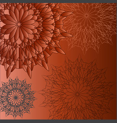 group circular patterns on a brown background vector image vector image