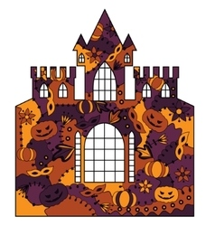 Halloween castle colorful vector image