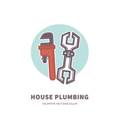 house plumbing advertisement banner with tools for vector image vector image