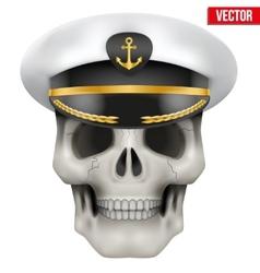 Human skull with sea captain cap on head vector