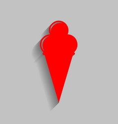 Ice cream sign red icon with soft shadow vector
