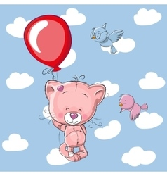 Kitten with balloon vector