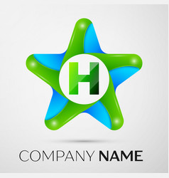 letter h logo symbol in the colorful star on grey vector image
