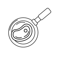 Line delicious meat inside skillet pan vector