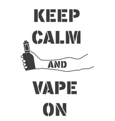 Poster with an electronic cigarette in hand vector image vector image
