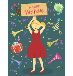Red dress birthday girl vector