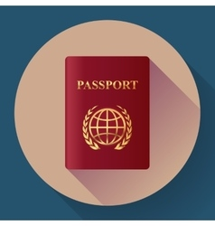 Red leather Passport icon Flat design style vector image vector image