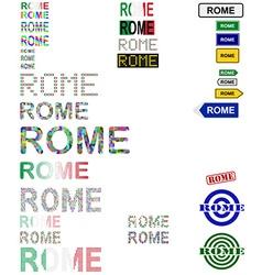 Rome text design set vector