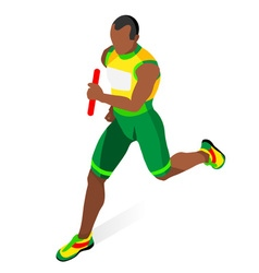 Running relay 2016 sports 3d isometric vector
