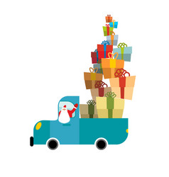 Santa truck car and christmas gifts holiday vector