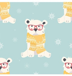 Seamless merry christmas pattern with polar bear vector