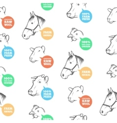 Seamless Pattern with different farm animals vector image vector image