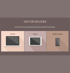 set of laptop tablet and mobile phone vector image vector image
